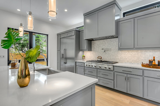 beautiful gray interior of a modular home