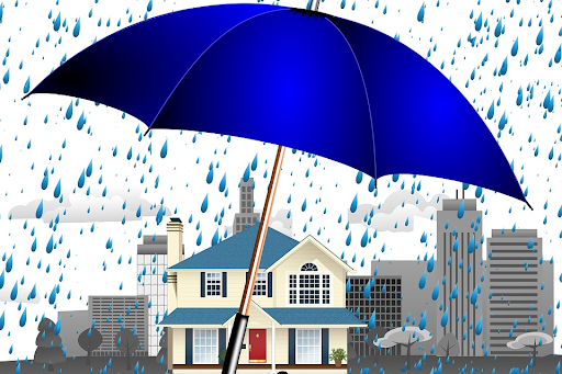 umbrella protecting mobile home from rainwater
